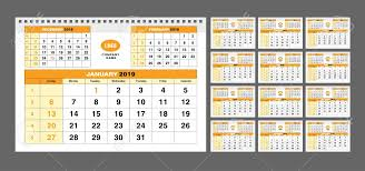 Calendar Template For 2019 Years Set Of 12 Calendar Pages For
