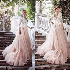 pink wedding dress tulle wedding dress long sleeves wedding gown