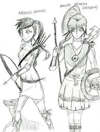 Greek mythology athena and artemis sketch by anonymous112358096 buycottarizona