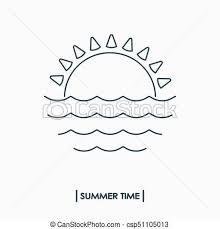 夏 アウトライン 太陽 Time 海 アイコン