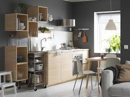 ikea modern kitchen. Grey And White Kitchen With Light Wood Open Closed Cabinets. Ikea Modern K