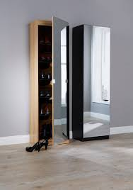 featuring a full length mirror door the tall design and narrow depth allows the unit to be used in tight spaces this one door cupboard is available in
