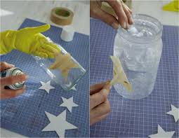 diy jar crafts painters tape star stencil