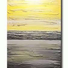original art abstract painting yellow grey modern textured