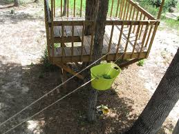 Since the deck is really close to the treehouse, I rigged up this pulley  system