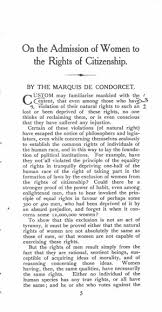 on the admission of women to the rights of citizenship online original table of contents or first page