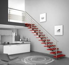 Contemporary Handrails for Stairs with iron material and floating staircase  and grey wall