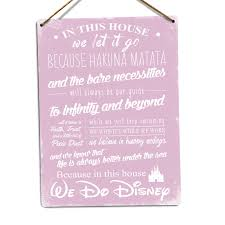 in this house we do disney v2 pink metal wall sign plaque inspirational art d2pn 1 of 1free