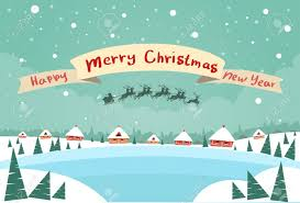 merry christmas and happy new year banner. Wonderful Happy Merry Christmas And Happy New Year Banner Santa Claus Sleigh Reindeer Fly  Sky Over House To And 123RFcom