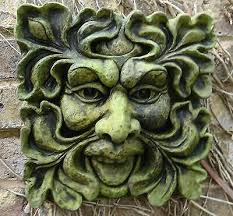 green man square stone wall plaque