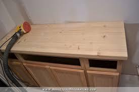 diy pine butcherblock countertop after initial sanding with 60 grit sandpaper
