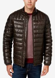 men s quilted faux leather puffer jacket tommy hilfiger