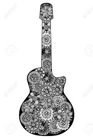 guitar hand drawn fl patterned coloring book page for s and child design