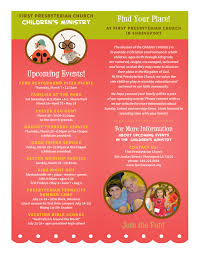 children s and family ministry ministry 2013 spring summer events flyer