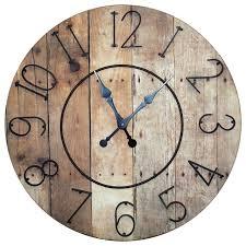 round wood slat clock with metal numbers