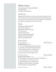 Food Service Skills Resume Restaurant Food Service Functional Resume Samples Examples