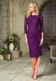 mothers wedding dresses. free shipping 2015 elegant purple short mother of the bride lace dresses knee length with three quarter evening dress-in mothers wedding d