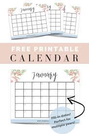 Free Printable Fill In Floral Calendar Cassie Scroggins