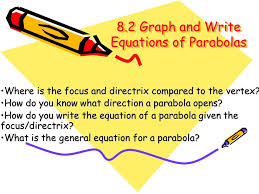 8 2 graph and write equations of parabolas