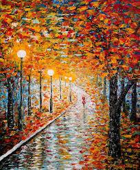 saatchi art artist georgeta blanaru painting rainy autumn day acrylic palette knife painting