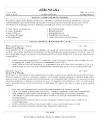 Assistant Project Manager Resume Job Description Construction Project Manager Resume Example Ellseefatih Com