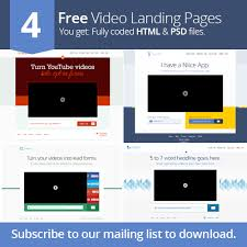 4 to a page template 4 free video landing page templates socialeers