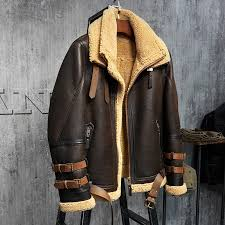 men s shearling jacket b3 flight jacket imported wool from australia short leather