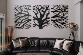 3 panel laser cut tree wall decor on custom cut metal wall art with tree triptych custom laser cut metal art wall decor