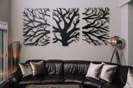 3 panel laser cut tree wall decor