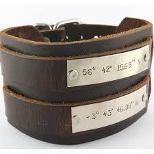 personalized leather double buckle bracelet latitude longitude coordinates custom hand stamped bracelet father s day gift