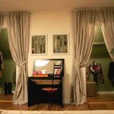 Image Hanging Curtains Ways To Decorate Your Closet Doors Homedit How To Reinvent Your Storage Areas With Closet Curtains
