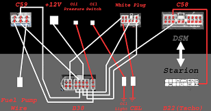project 0g this diagram will make all connections for the dsm motor to run allot of effort has been made to allow all warning lights and gauges to work as well