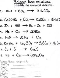 chemical reactions entire unit homework with answers editable