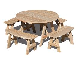 48 round picnic table with optional 36 x 10 3 4 w curved benches shown unstained