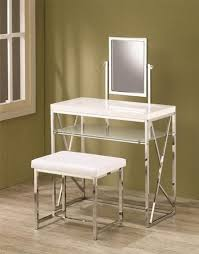 white contemporary chrome vanity with padded bench free ups shipping ebay