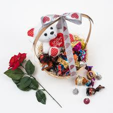 valentine s day gift basket chocolates teddy bear from her world this valentine s day