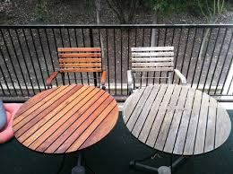 stained teak furniture table before and after