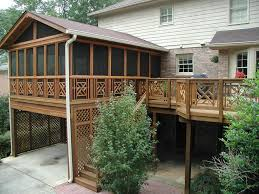 Beautiful House Decoration With Screened Decks Design Ideas : Extraordinary  Exterior Home Design Ideas With Brown ...