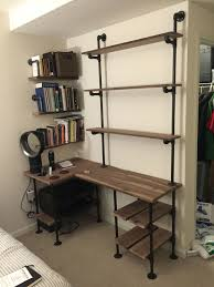 pipe and walnut l shaped desk with shelves