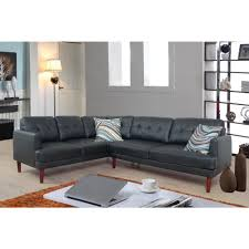 black faux single line tufted leather sectional sofa set 2 piece sh5001b the home depot