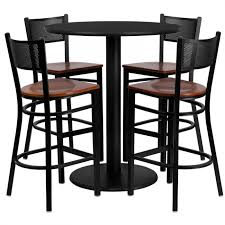 flash furniture md 0018 gg 36 round black table set with grid back metal bar stool and cherry wood seat