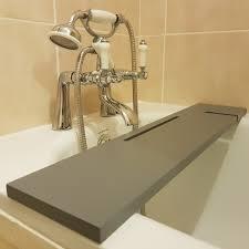 wood handmade bathtub rack bridge bath caddy tray with ipad phone holder grey