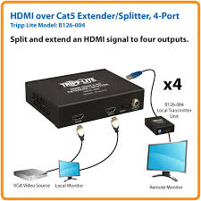 tripp lite b126 004 4 port hdmi over cat5 extender splitter taa split and extend an hdmi signal to four outputs