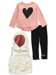Dkny Baby Size Chart Dkny Baby Girls Quilted Hooded Glam 3 Piece Leggings Set Outfit