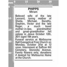 Funeral Notices - Miriam PHIPPS