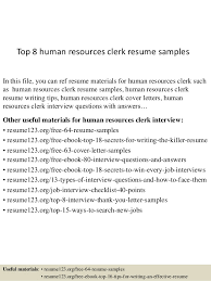 Top 8 human resources clerk resume samples In this file, you can ref resume  materials ...
