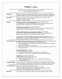Mechanical Engineering Student Resume Unique Mechanical Engineering