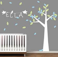 childrens tree with name wall sticker on wall art stickers nursery uk with nursery tree with name and birds wall stickers by wallboss