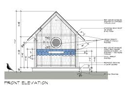 Birdhouse drawings Front Elevation design by Dallas Architect Bob Borson