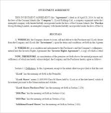 Investor Agreement Template Word Investor Contract Template Free